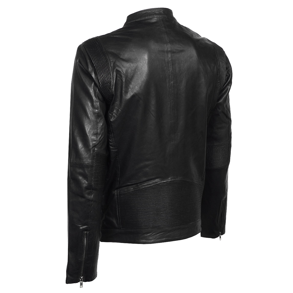 jack jones insti slim collar leather jacket herren. Black Bedroom Furniture Sets. Home Design Ideas